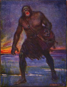 """Stories of beowulf grendel"" by J. R. Skelton - Marshall, Henrietta Elizabeth (1908) Stories of Beowulf, T.C. & E.C. Jack. Licensed under Public Domain via Wikimedia Commons - http://commons.wikimedia.org/wiki/File:Stories_of_beowulf_grendel.jpg#/media/File:Stories_of_beowulf_grendel.jpg"